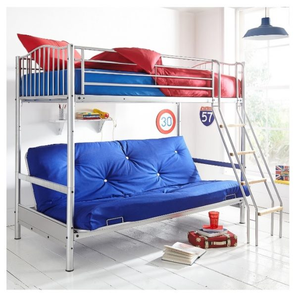 Steel triple bed with ladder
